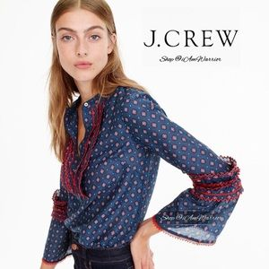 J. Crew embroidered bell sleeve top
